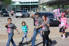 Hispanic family breast cancer walk supporters Royalty Free Stock Photos