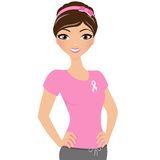 Breast Cancer Woman. Girl in pink breast cancer support t-shirt Stock Images