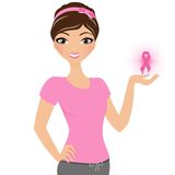 Breast Cancer Woman. Girl in pink breast cancer support t-shirt Stock Photo