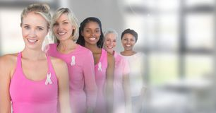 Breast cancer women with transition of windows stock photo