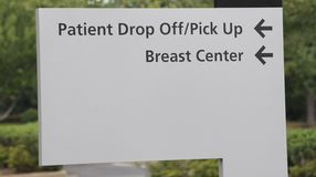 Breast Center Patient Drop Off Sign Stock Photos