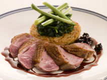 Breast of Duck, with Rosti Potato and Cassis Jus. On a plate Stock Photography