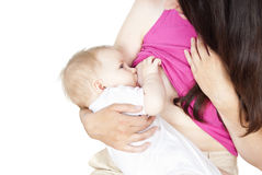 Breast-feeding baby Stock Image