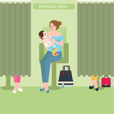 Breast feeding lactation room facility public area nursing baby. Vector stock illustration