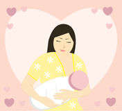 Breast feeding mother. Vector illustration Stock Images