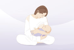 Breast feeding a new born child Stock Image