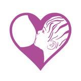 Breast feeding  sign. Breastfeeding coalition. Emblem Royalty Free Stock Photo