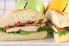 Breast gourmet sandwich. You might be tempted by this delicious gourmet sandwich a perfect weekday fare Stock Image