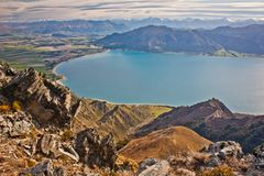 Breast hill trail near Wanaka in New Zealand. Hawea lake from Breast hill, beatiful landscape of New Zealand, dream travel in New Zealand, worlds famous travel royalty free stock photo