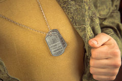 Breast of military man Stock Image