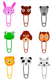 Breast Pin with Cute Animals  Face, isolated on white Royalty Free Stock Photo