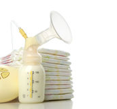 Breast pump to increase milk supply for breastfeeding mother and Stock Photo
