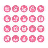 Breastfeeding, baby food vector flat glyph icons. Breast feeding elements - pump, woman, child, powdered milk, bottle. Sterilizer, nursing pillow. Maternity royalty free illustration