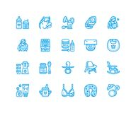 Breastfeeding, baby food vector flat line icons. Breast feeding elements - pump, woman, child, powdered milk, bottle. Sterilizer, nursing pillow. Maternity Royalty Free Stock Image