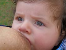 Breastfeeding in baby sling outdoors Royalty Free Stock Photos