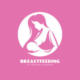 Breastfeeding is the best feeding minimalistic style poster. Vector vintage illustration. Royalty Free Stock Images