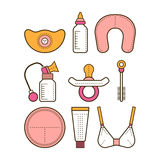 Breastfeeding. Colored flat icons. Motherhood. Vector Royalty Free Stock Images