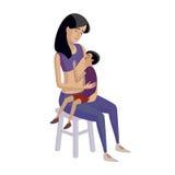 Breastfeeding illustration. Flat design illustration of breastfeeding concept. Colorful cartoon character mother feeding baby. Lactation and free breastfeeding Stock Photos