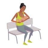 Breastfeeding illustration. Flat design illustration of breastfeeding concept. Colorful cartoon character mother feeding baby. Lactation and free breastfeeding Royalty Free Stock Image