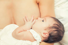 Breastfeeding of infant Stock Images