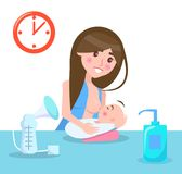 Breastfeeding Mother and Child Vector Illustration. Breastfeeding mother and child, poster with woman and her baby, gel and clock on wall, love and motherhood Stock Images