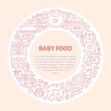 Breastfeeding poster template. Vector line illustration of breast feeding, baby infant food. Nursery element: breast pump, woman, child, powdered milk, bottle royalty free illustration