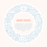 Breastfeeding poster template. Vector line illustration of breast feeding, baby infant food. Nursery element: breast pump, woman, royalty free illustration