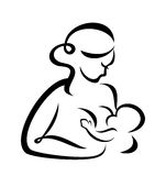 Breastfeeding woman. Young woman breastfeeding her baby symbol Royalty Free Stock Photography