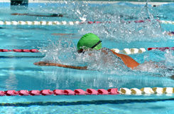 Breaststroke swimmer at a swim meet Stock Photos