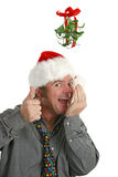 Breath Check Under Mistletoe Royalty Free Stock Photo