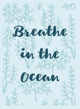 Breath in the ocean greeting card with seaweeds Stock Image