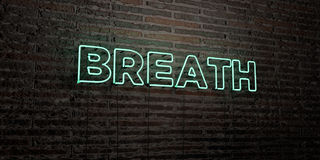 BREATH -Realistic Neon Sign on Brick Wall background - 3D rendered royalty free stock image Stock Photos