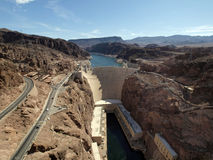 Breath taking Aerial view of the Colorado River, Hoover Dam, and. Road taken from bypass bridge on the border of Arizona and Nevada, USA Royalty Free Stock Image
