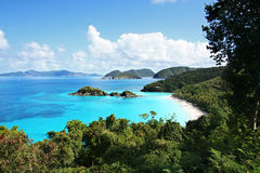 Breath-taking Trunk Bay. Breath-taking aerial view of Trunk Bay, St. John, U.S. Virgin Islands with aqua blue view of the Caribbean Royalty Free Stock Images