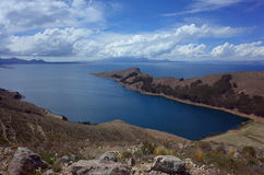Breath taking view of Lake Titicaca as seen from the Isla del Sol Royalty Free Stock Photos