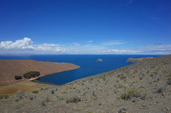 Breath taking view of Lake Titicaca as seen from the Isla del Sol Stock Photos