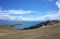 Breath taking view of Lake Titicaca as seen from the Isla del Sol Royalty Free Stock Photo
