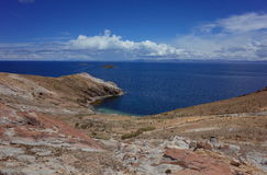 Breath taking view of Lake Titicaca as seen from the Isla del Sol Royalty Free Stock Photography