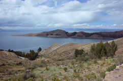 Breath taking view of Lake Titicaca as seen from the Isla del Sol Stock Photo