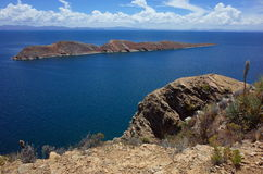 Breath taking view of a small island on Lake Titicaca as seen from the Isla del Sol Stock Image