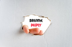 Breathe deeply text concept. Isolated over white background Royalty Free Stock Image