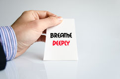 Breathe deeply text concept. Isolated over white background Royalty Free Stock Images