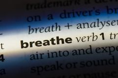 Breathe. Word in a dictionary.  concept Stock Image