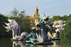 Breathing dragon fountain Royalty Free Stock Images