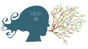 Breathing with fresh air concept - head silhouette Royalty Free Stock Images