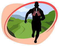 Breathing and jogging in nature Royalty Free Stock Image
