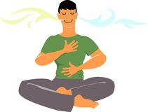 Breathing meditation practice. Man practicing breathing exercises, EPS 8 vector cartoon, no transparencies stock illustration