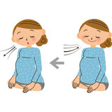 The breathing method of the delivery. It is practiced the breathing in the image of delivery stock illustration