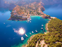 Breathless view of Assos village and his harbor. Kefalonia island in Greece ; Drone photography Royalty Free Stock Image