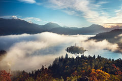 Breathtaking aerial panoramic view of Lake Bled. (Blejsko jezero) on a misty morning, Slovenia, Europe ( Osojnica Stock Photos
